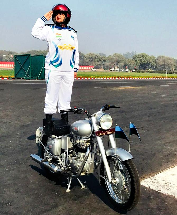 Captain Shikha Surabhi of the Army's motorcycle display team