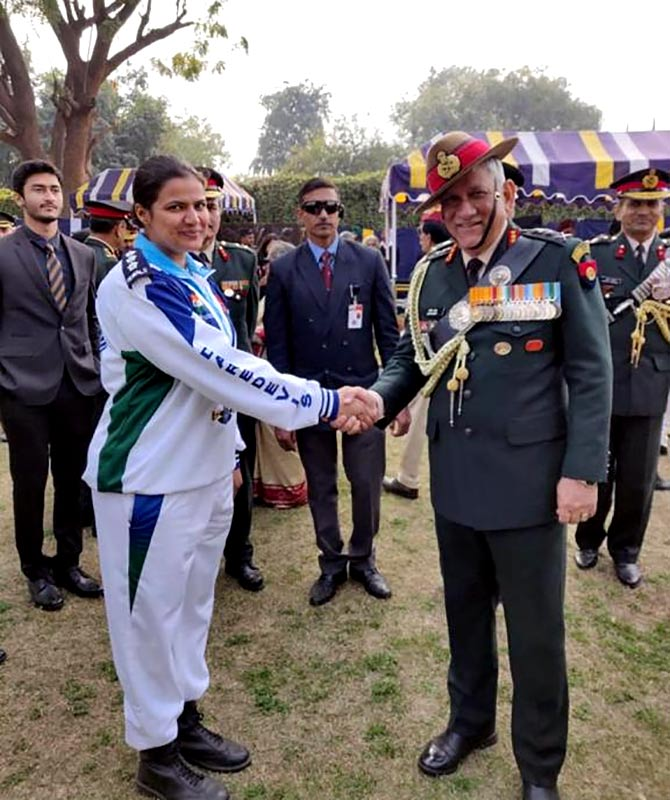 Captain Shikha Surabhi with Army Chief Bipin Rawat