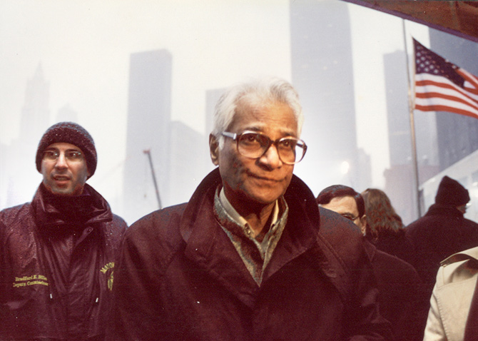 Then defence minister George Fernandes at the World Trade Centre site in New York, March 2002.