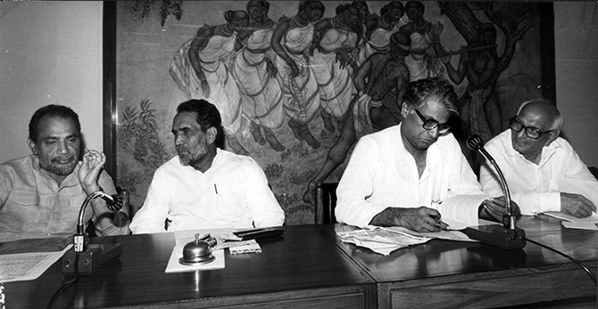 George Fernandes, second from right, with his Janata Party colleagues Ramakrishna Hegde, Chandra Shekhar and Madhu Dandavate