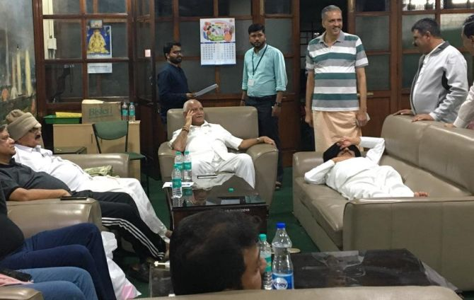 PHOTOS: BJP MLAs sleep in Karnataka assembly