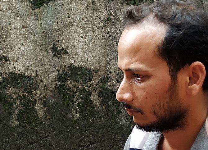 Brijesh Chaurasia, eyes bloodshot. Photograph: Rajesh Karkera/Rediff.com