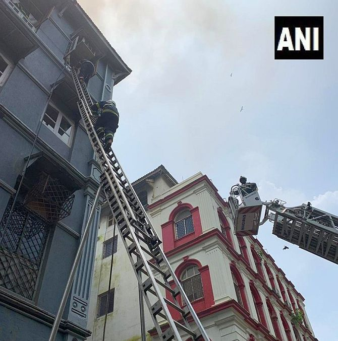 Fire breaks out at building near Taj Hotel in Mumbai