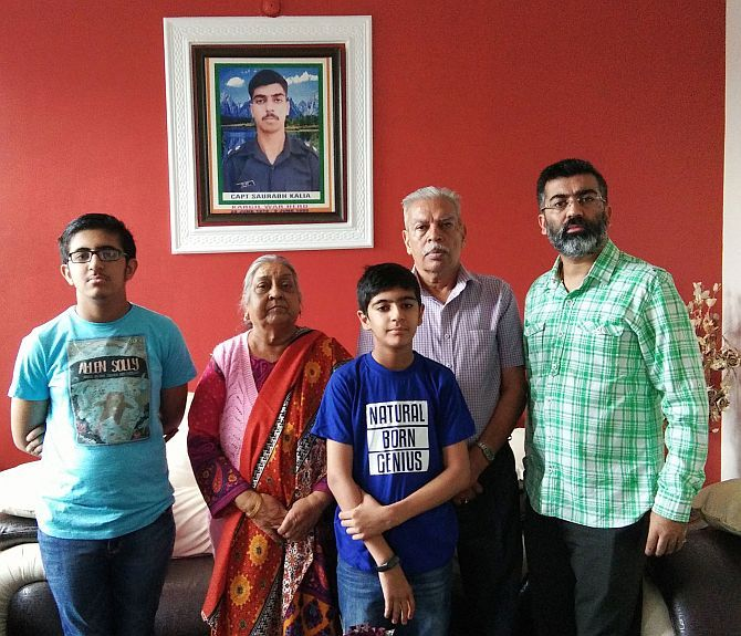 Captain Saurabh Kalia's family in his home in Palampur