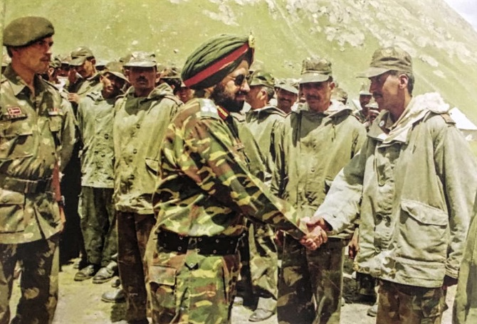 Brigadier Bajwa meets troops of the JAK Rifles during the Kargil War. Captain Vikram Batra and Rifleman Sanjay Kumar from the unit were awarded the Param Vir Chakra for their courage in the war.  Photograph: Kind courtesy Brigadier Bajwa