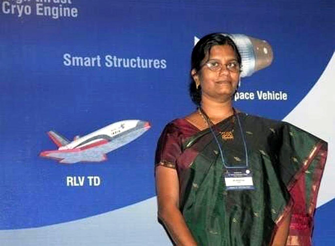 Vanitha Muthaya, Project Director, Chandrayaan 2. Photograph: Kind courtesy Vinod Tawde/Twitter
