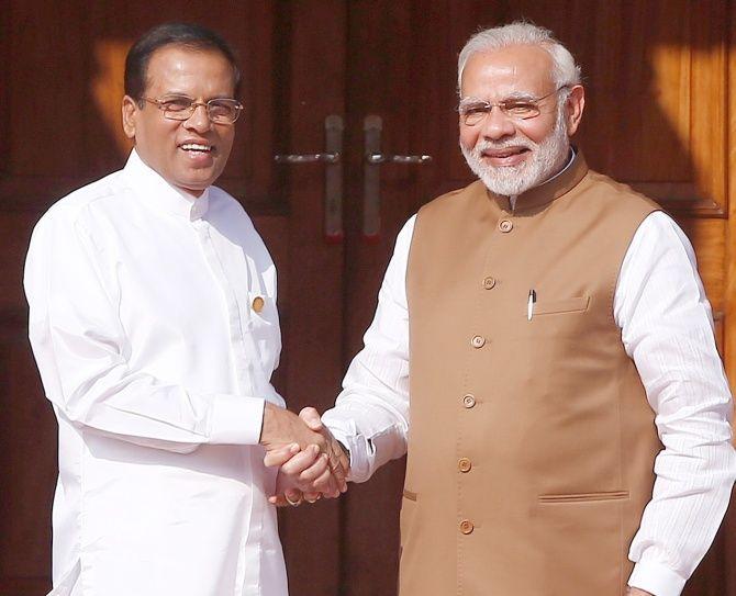 Prime Minister Narendra Damodardas Modi with Sri Lankan President Maithripala Sirisena