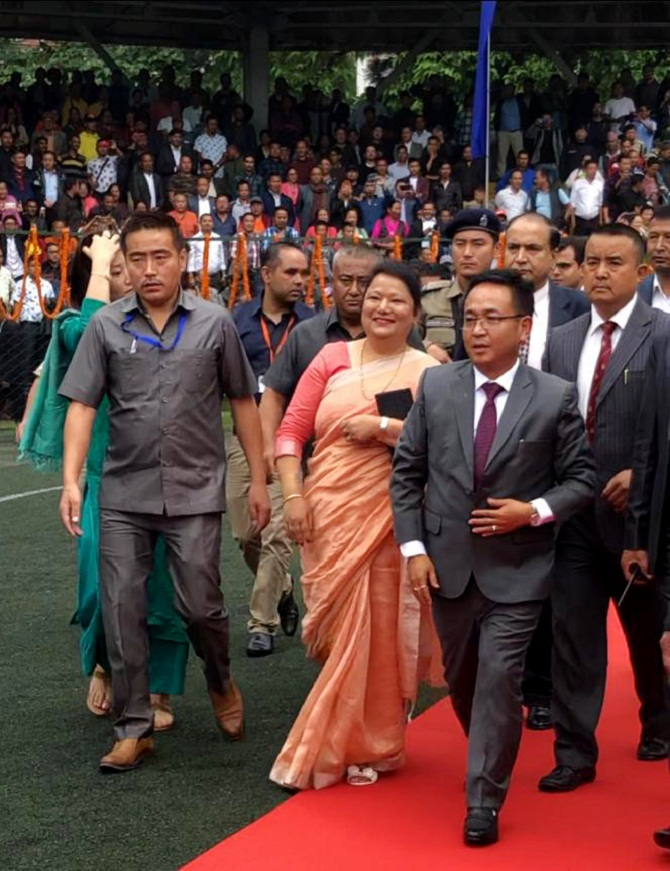 Sikkim Chief Minister Prem Singh Tamang (Golay), arrives at the swearing-in ceremony in Gangtok on May 27, 2019. Photograph : ANI Photo