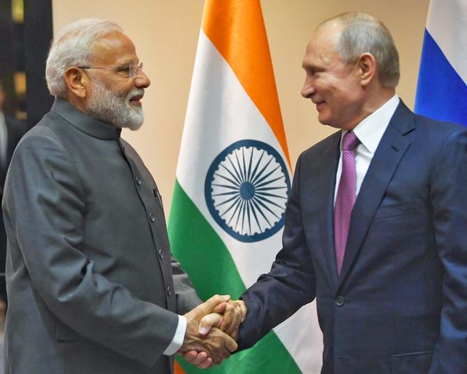 Prime Minister Narendra Damodardas Modi meets Russian President Vladimir Putin