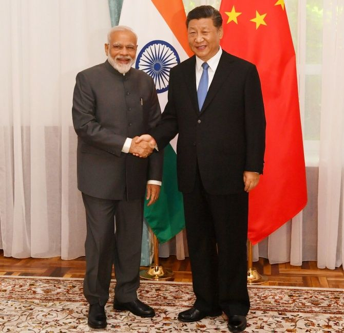 Prime Minister Narendra Damodardas Modi meets Chinese President Xi Jinping on the sidelines of the SCO Summit 2019 in Bishkek