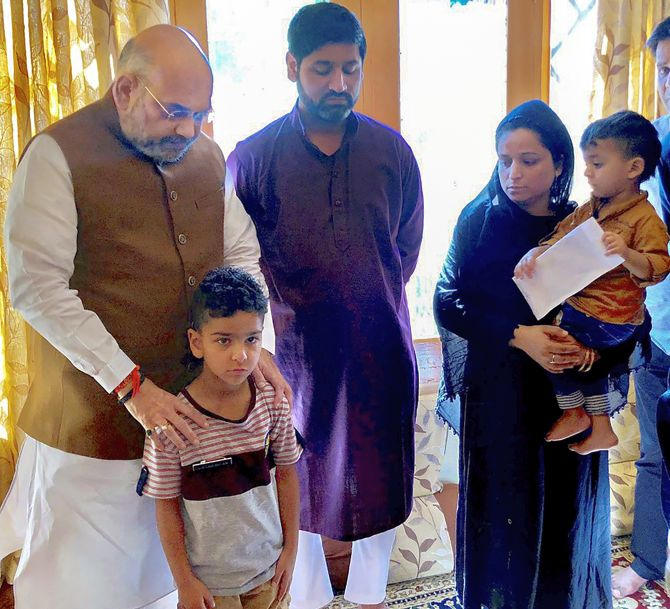 Amit Shah meets son of cop killed in Kashmir attack