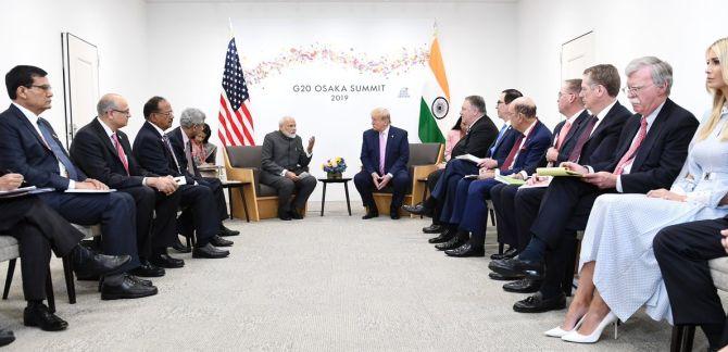 Prime Minister Narendra Damodardas Modi with United States President Donald John Trump in Osaka, Japan, June 28, 2019.  Photograph: Press Information Bureau