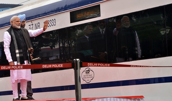 Prime Minister Narendra Damodardas Modi flags off the Vande Bharat Express at New Delhi railway station on February 15, 2019, the day after a suicide bomber killed 40 CRPF jawans in Pulwama, Kashmir. Photograph: PTI Photo