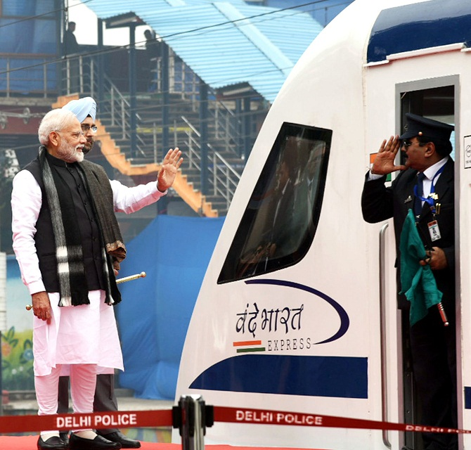 Prime Minister Narendra Damodardas Modi flags off the Vande Bharat Express. Photograph: ANI Photo