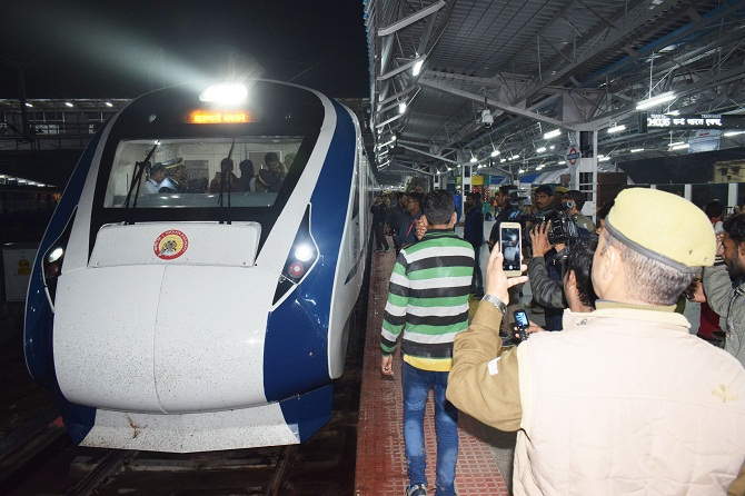 The Vande Bharat Express arrives at Allahabad station on February 15, 2019. Photograph: ANI Photo