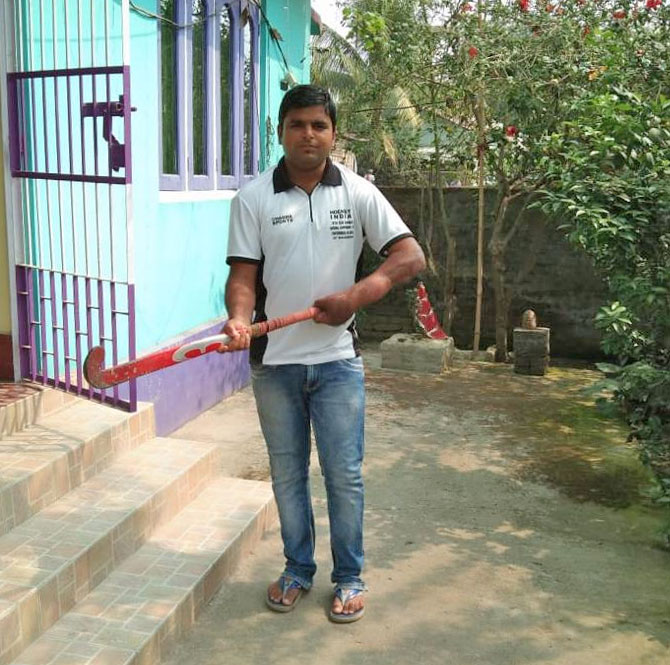 Srikant Chowdhury outside his home in Assam
