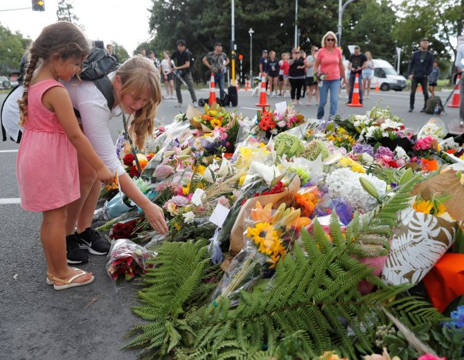 Tributes outside the Masjid Al Noor in Christchurch.