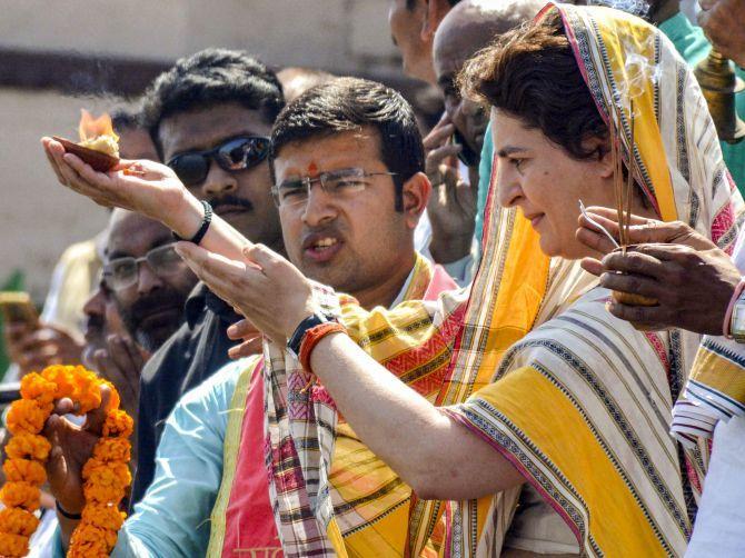 Priyanka Gandhi Vadra at Assi Ghat in Varanasi, March 20, 2019. Photograph: PTI Photo