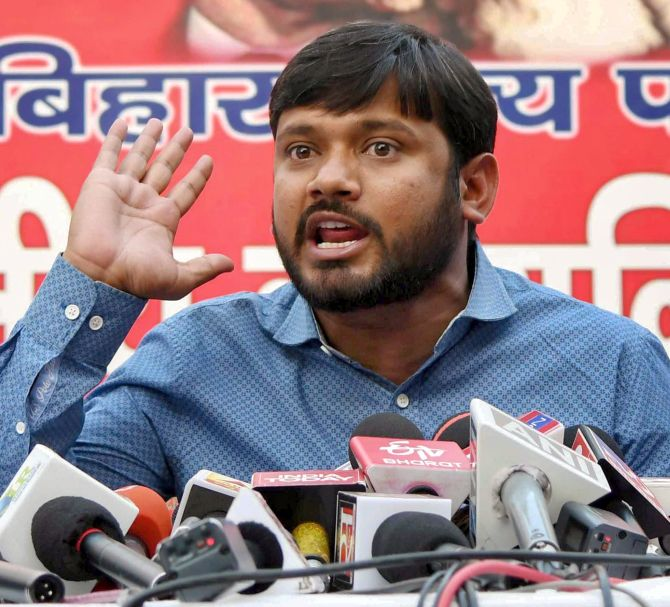 Kanhaiya Kumar addresses a press conference in Patna. Photograph: PTI Photo