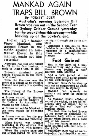 An Australian newspaper account of Vinoo Mankad's decision to run out Bill Brown
