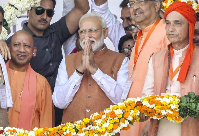 Prime Minister Narendra Damodardas Modi at the Bharatiya Janata Party's Vijay Sankalp Rally in Meerut, Uttar Pradesh, March 28, 2019. Photograph: PTI Photo