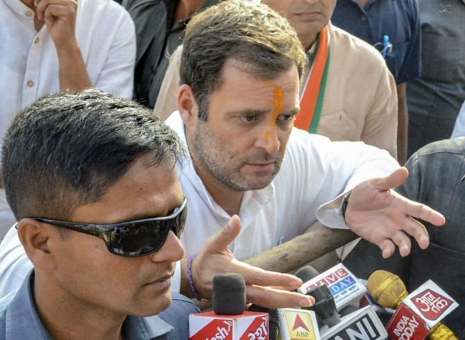 Congress national President Rahul Gandhi in Amethi, his parliamentary constituency, May 3, 2019. Photograph: PTI Photo
