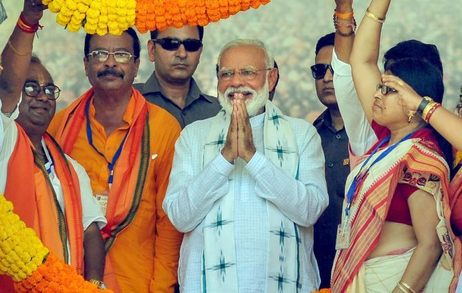 Prime Minister Narendra Damodardas Modi at an election rally at Haldia in East Midnapore district, West Bengal May 6, 2019. Photograph: PTI Photo