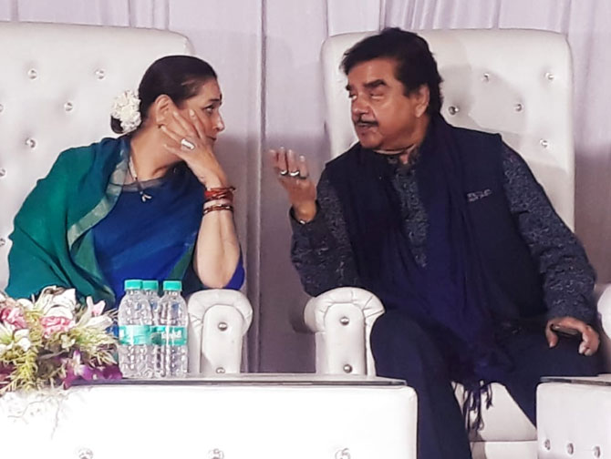 Shatrughan Sinha, Congress and wife Poonam Sinha, Samajwadi Party candidate in a poll meeting in Lucknow
