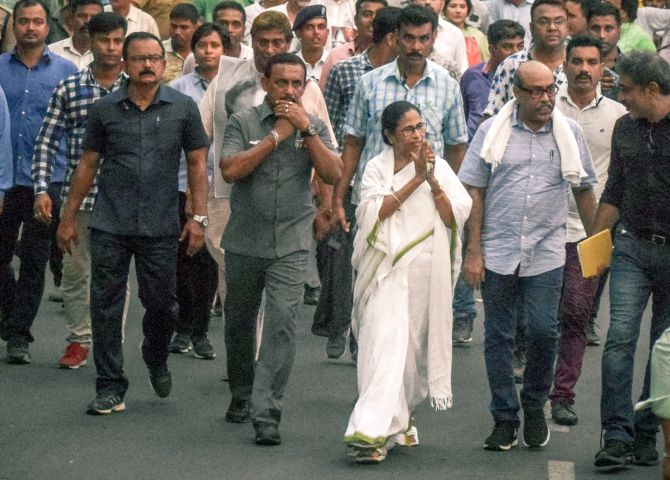 West Bengal Chief Minister Mamata Banerjee during her 7 km march to protest against poll violence in the state, May 15, 2019. Photograph: ANI Photo