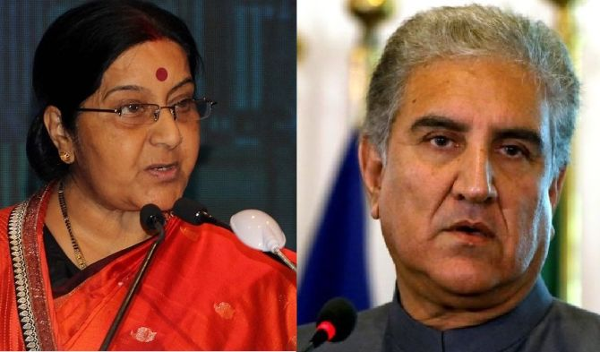 Swaraj, Qureshi exchange pleasantries at SCO meeting