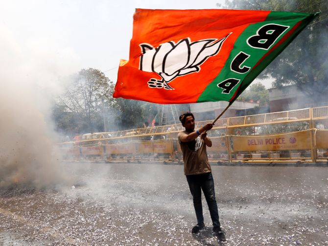 Celebrations outside the Bharatiya Janata Party's national headquarters in New Delhi. Photograph: Adnan Abidi/Reuters