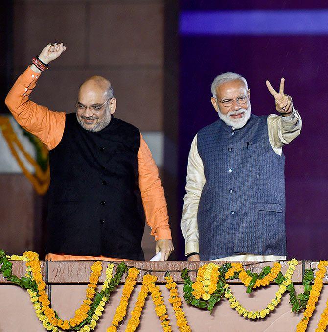 Prime Minister Narendra Damodardas Modi with Bharatiya Janata Party President Amit Anilchandra Shah, May 23, 2019. Photograph: PTI Photo