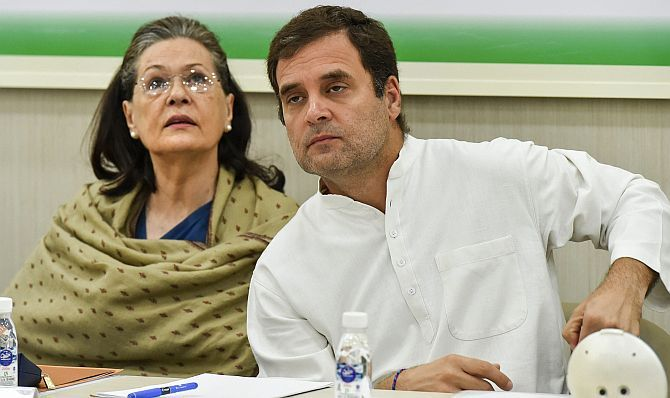 Congress national President Rahul Gandhi with his mother and former Congress president Sonia Gandhi