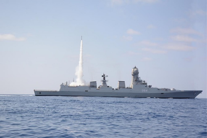The Indian Navy achieved a significant milestone in enhancing its Anti Air Warfare Capability with the maiden cooperative engagement firing of the Medium Range Surface to Air Missile. Photograph: ANI Photo