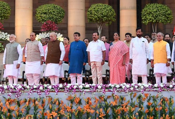 Prime Minister Narendra Damodardas Modi and some of his Cabinet ministers