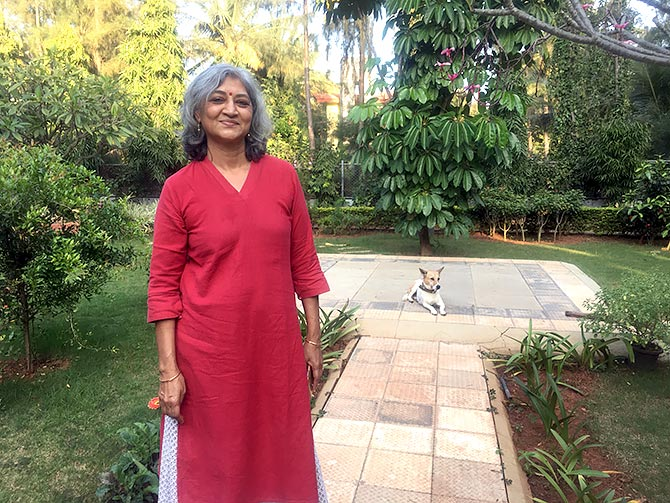 Mrs Meghna Girish, daughter, wife and mother of officers of the armed forces, in her garden.
