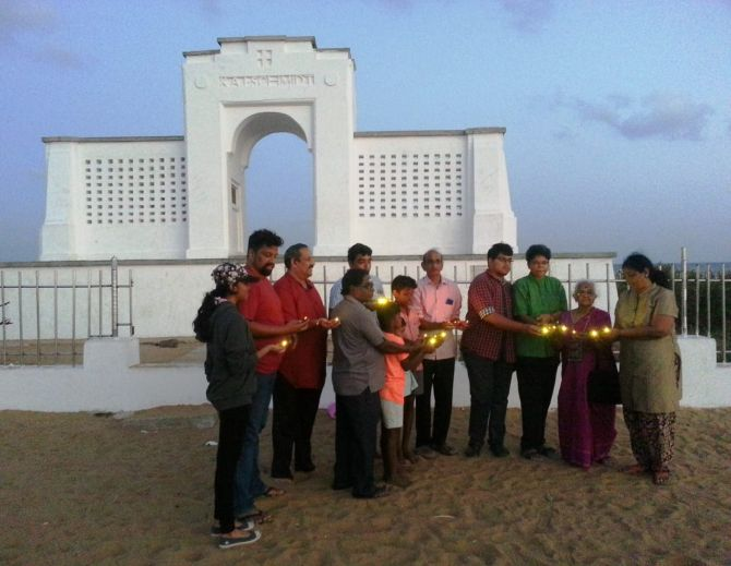 Kamakshi Paatti, second from right, with volunteers at the Karl Schmidt memorial on Elliot's Beach, Chennai.