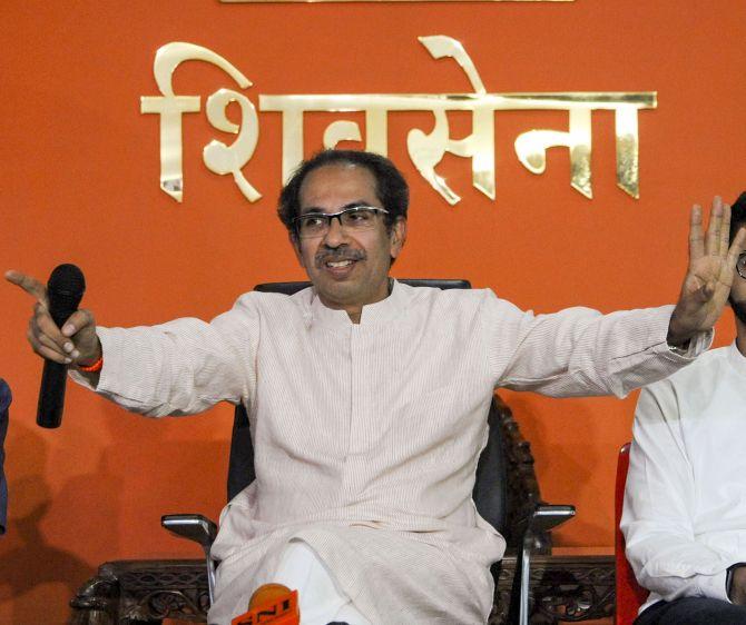 Shiv Sena President Uddhav Thackeray addresses a press conference at Shiv Sena Bhavan on November 8, 2019. Photograph: PTI Photo