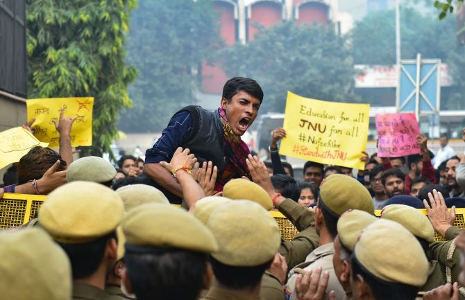 JNU students booked for 'vandalism'