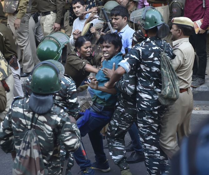 JNU students allege police brutality; cops deny charge