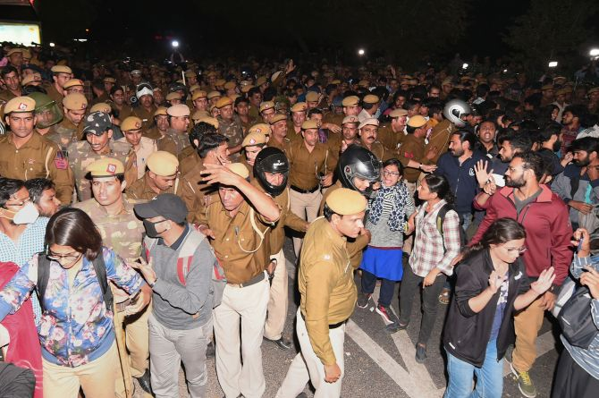 FIR against protesting JNU students; RS disrupted