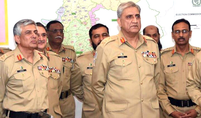 Pakistan army chief General Qamar Javed Bajwa with senior Pakistani army officers.