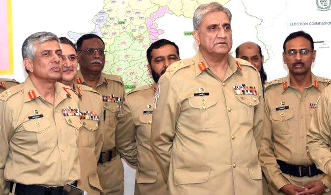 General Qamar Javed Bajwa, Pakistan's chief of army staff, with senior army officers. Photograph: Kind courtesy: ISPR