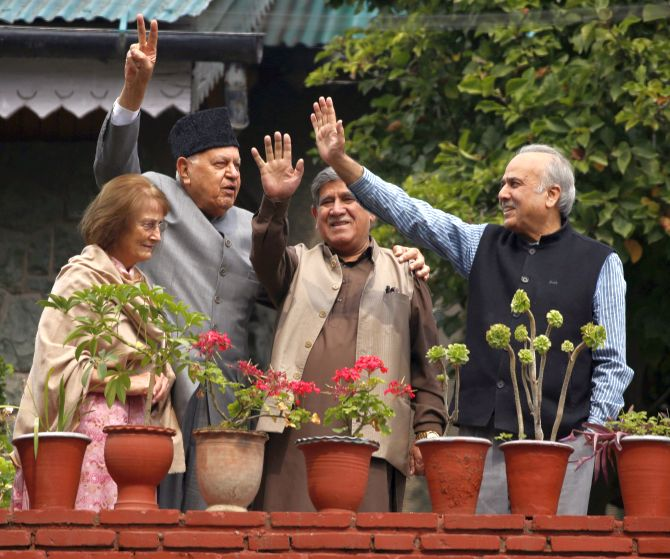 Dr Farooq Abdullah, left, his wife Molly, with National Conference Lok Sabha MPs Akbar Lone, second from right, and Hasnain Masoodi in Srinagar, October 6, 2019. Photograph: Umar Ganie for Rediff.com