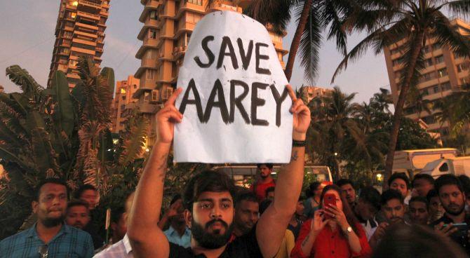 Mumbai-ites stage a protest demanding that the Mumbai Metro Rail Corp Ltd not cut trees at Aarey to build a Metro parking shed. Photograph: Prashant Waydande/Reuters