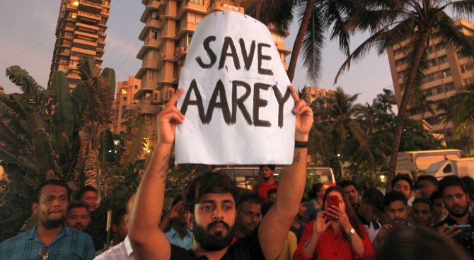 Mumbai-ites stage a protest demanding that the Mumbai Metro Rail Corp Ltd not cut trees at Aarey to build a Metro parking shed. Photograph: Prashant Waydande/Reuters