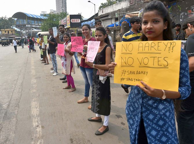 Since Friday, several protests have taken place across the city of Mumbai demanding that the trees not be felled at Aarey. Photograph: ANI Photo