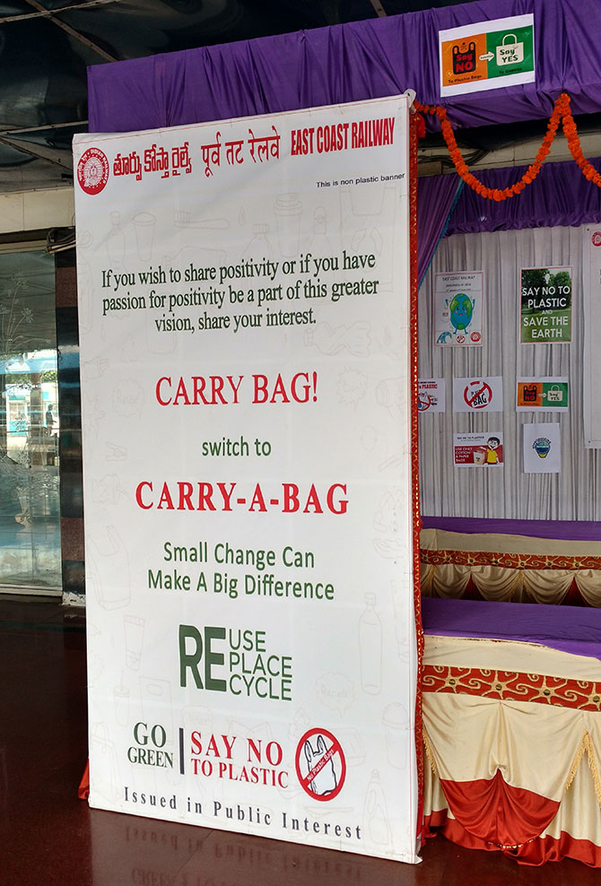 Messages against the use of plastic with attractive colours are pasted on the platform. Particularly one, saying no carry bag but carry-a-bag. The station also has mechanised equipment for cleaning and disposing waste. It has bio-degradable and non-biodegradable dustbins.