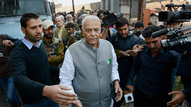 Former finance minister Yashwant Sinha on an earlier visit to Kashmir. Photograph: PTI.
