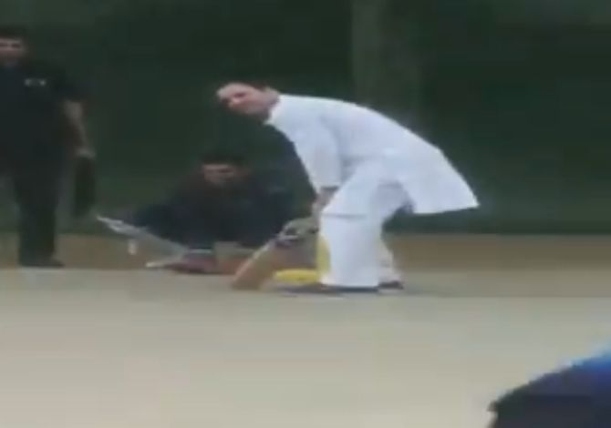 WATCH: Rahul Gandhi plays cricket with Haryana boys